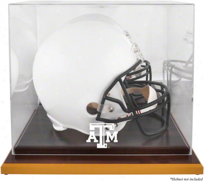 Texas A&m Logo Helmet Parade Case  Details: Wood Base, Mirrored Back