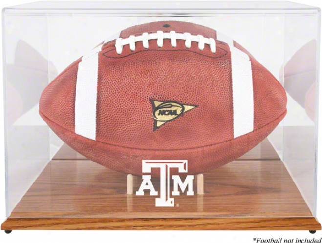 Texas A&m Team Logo Football Display Case  Details: Oak Shameful, Mirror Back