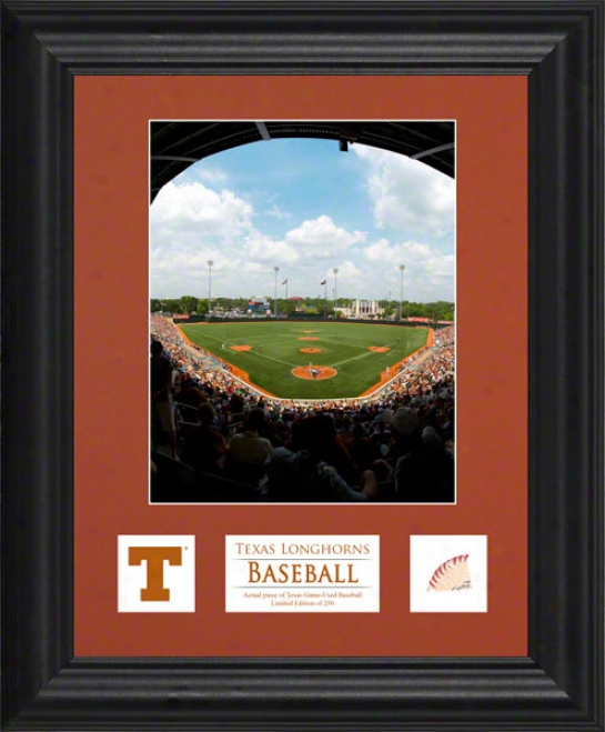 Texas Longhorns 6x8 Framed Photograph  Details: Descriptive Plate, Game Used Baseball Piece