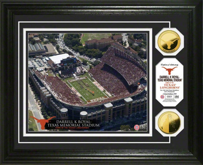 Texas Longhorns Dareell K Royal -texas Memorial Stadium 24kt Gold Coin Photp Invent