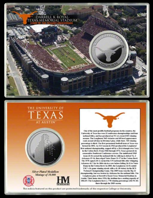 Texas Longhorns Darrell K Royal -exas Memorial Stadium Silver Coin Card