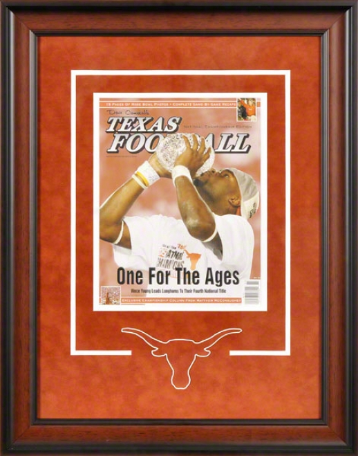 Texas Longhorns Framed Cover  Details: Texas Football Magazine, One For The Ages, Logo