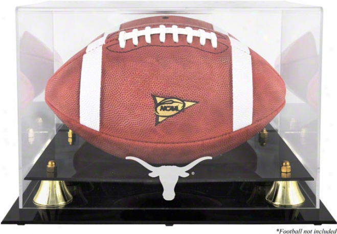 Texas Longhorns Gplden Classic Logo Football Display Case
