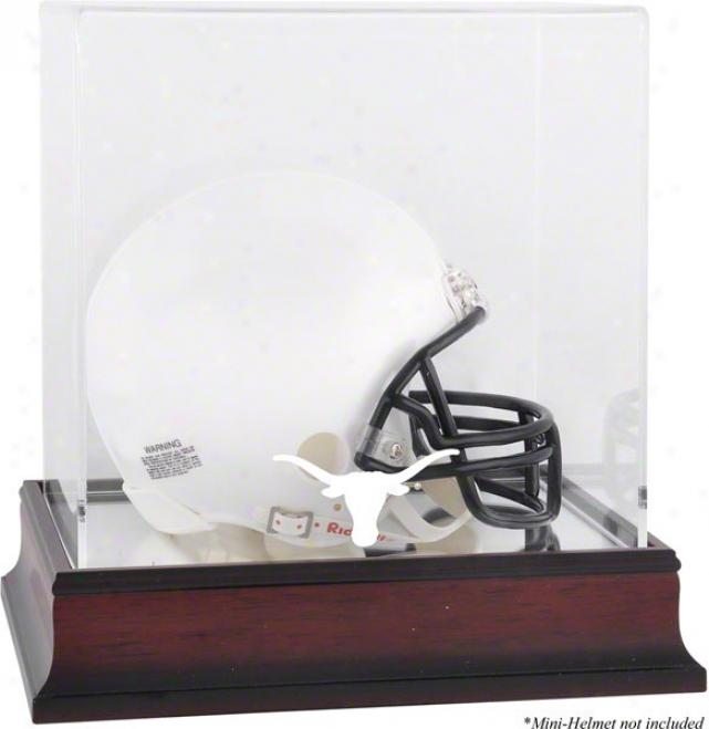 Texas Longhorns Mahogany Log0 Mini Helmet Display Case