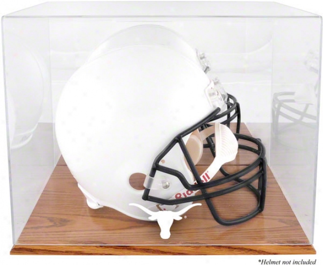 Texas Longhorns Team Logo Helmet Exhibition Case  Detaild: Oak Found