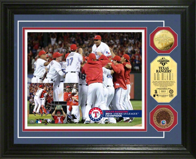 Texas Rangers 2011 American League Champions Infield Dirt Coin Photo Mint