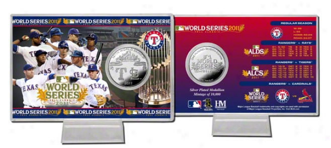 Texas Rangers 2011 World Ssries Silver Coin Card