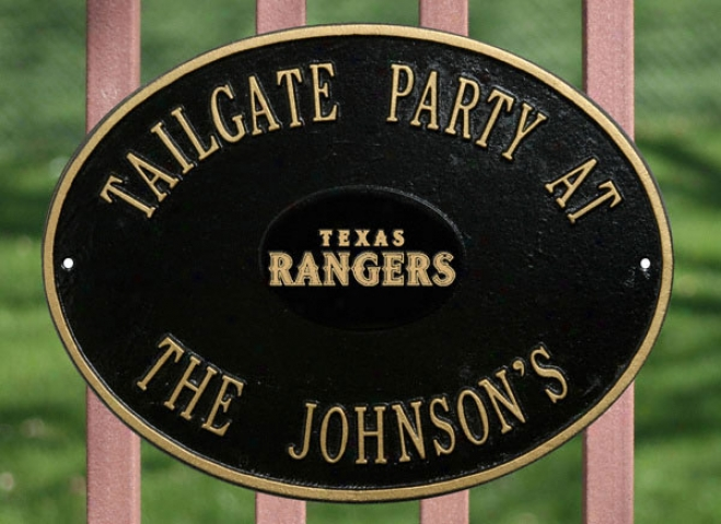 Texas Rangers Black And Gold Personalized Indoor/outdoor Plaque
