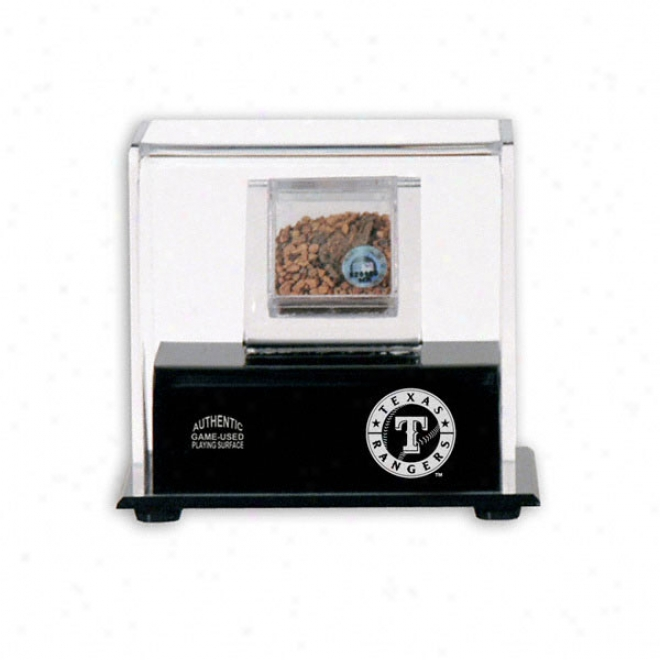 Texas Rangers Game Used Infield Dirt With Logo Display Case