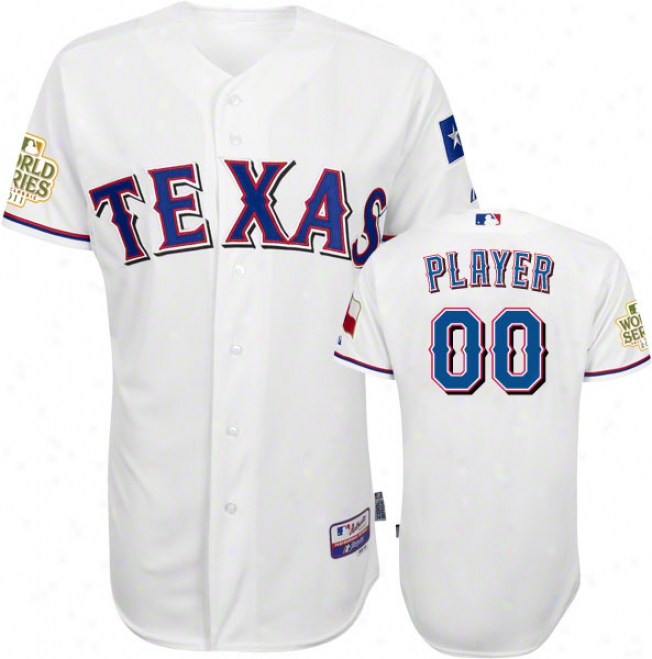 Texas Rangers Jersey: Any Player Home White Authentic Cool Baseã¢â�žâ¢ Jersey With 2011 World Series Participant Patch