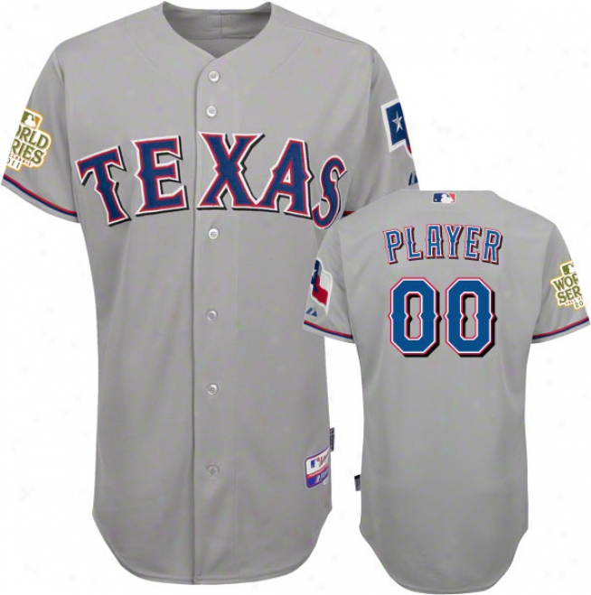 Texas Rangers Jersey: Any Player Road Grey Authentic Unimpassioned Baseã¢â�žâ¢ Jersey With 2011 World Series Participant Patch