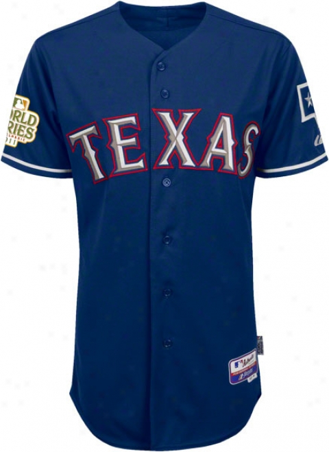 Texas Rangers Jersey: Big & Tall Alternate Royal Blue Authentic Cool Base㢢�⢠Jersey With 2011 World Series Participant Patch