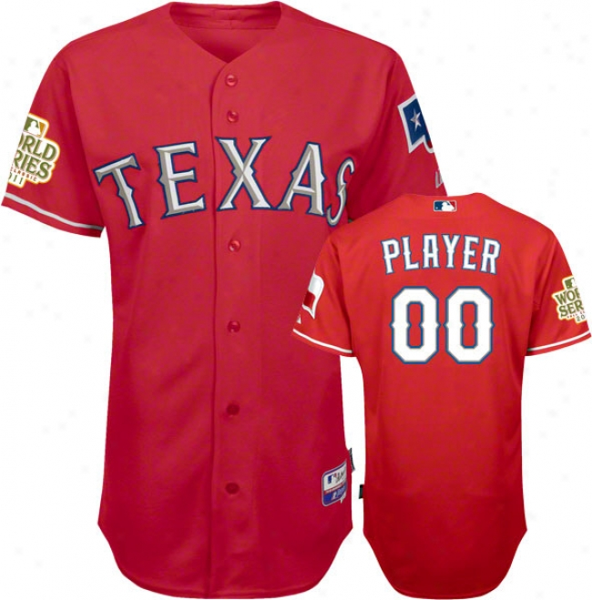 Texas Rangers Jersey: Big & Tall Any Actor Alternate Red Authentic Cool Baseã¢â�žâ¢ Jersey With 2011 World Series Participant Tract