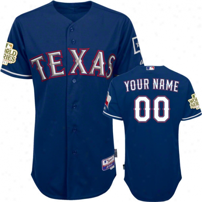 Texas Rangers Jersey: Big & Tall Personalized Alternate Royal Blue Authentic Cool Baseã¢â�žâ¢ Jersey With 2011 World Series Participator Patch