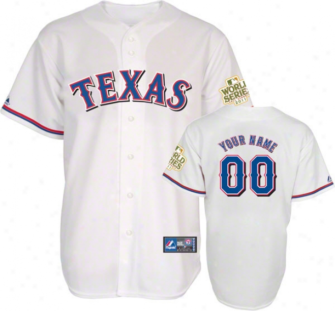 Texas Rangers Jersey: Big & Tall Personalized Home White Replica Jersey With 2011 World Series Participant Patch