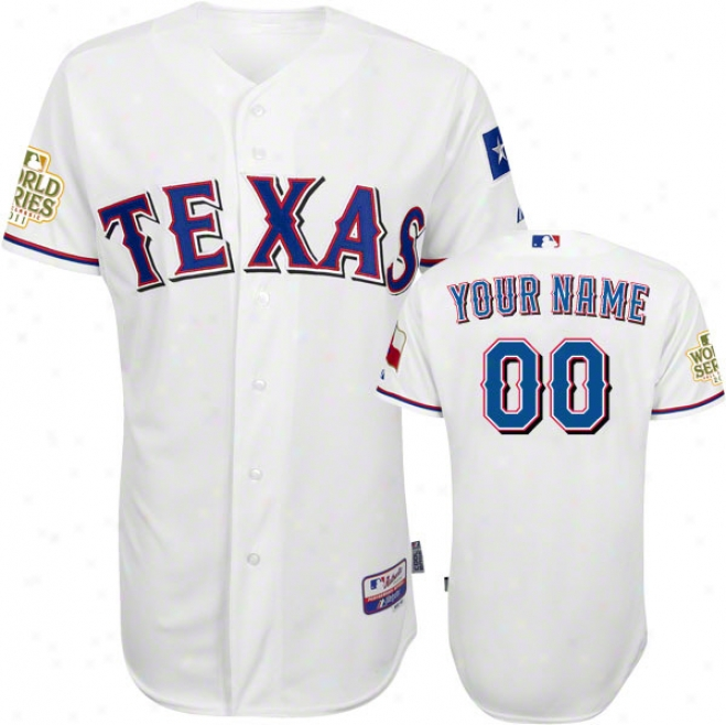 Texas Rangers Jersey: Personalized Hom3 White Authentic Cool Baseã¢â�žâ¢ Jerset With 2011 World Series Participant Patch