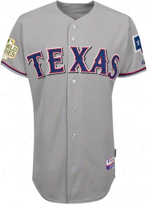 Texas Rangers Jersey: Road Grey Authentic Cool Baseã¢â�žâ¢ Jersey With 2011 World Succession Participant Patch