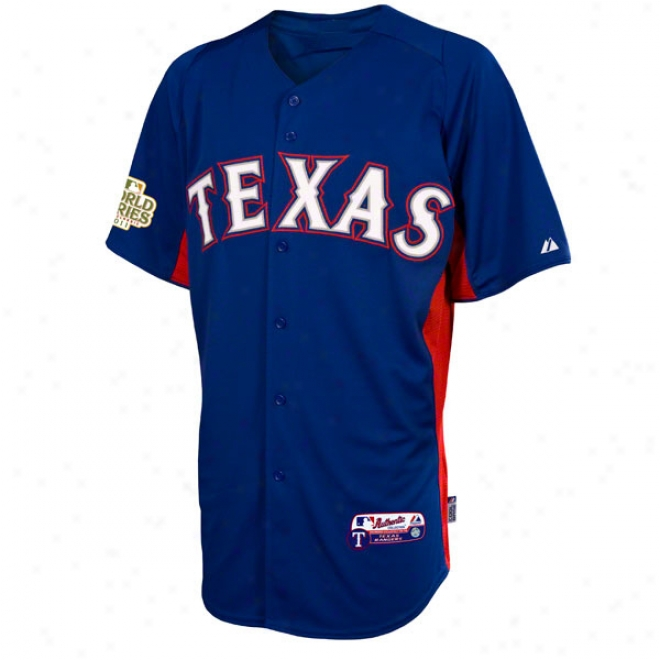Texas Rangers Jersey: Royal Blue Authentic Cool Baseã¢â�žâ¢ On-field Batting Practice Jerdey With 2011 World Series Participant Patch