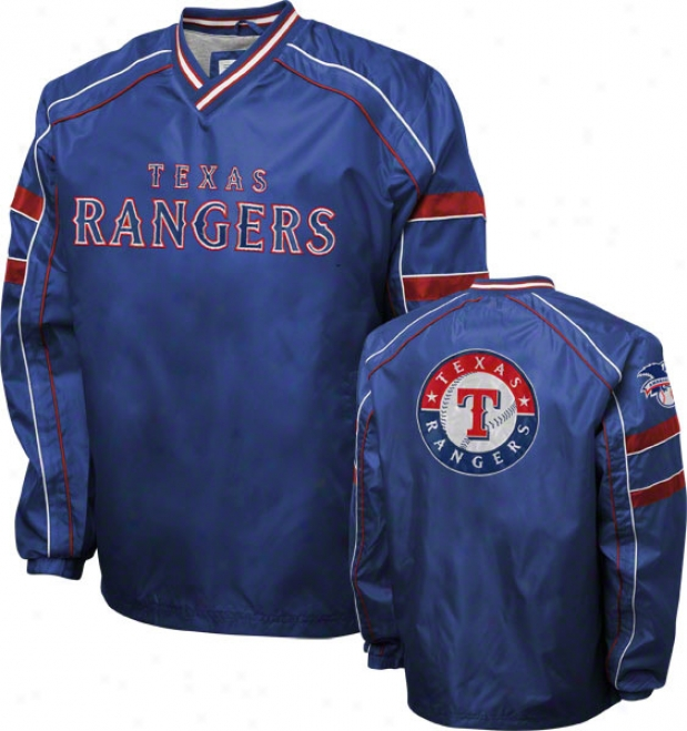 Texas Rangers Royal V-neck Pullover Jacket