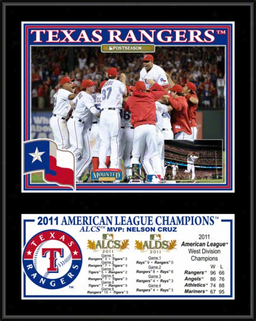 Texas Rangers Sublimated 12x15 Plaque  Details: 2011 American League Champions