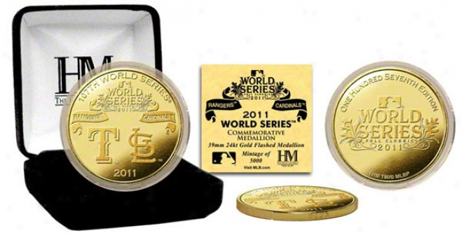 Trxas Rangers Vs. St. Louis Cardinals 2011 World Series Dueling Logo 24kt Gold Coin