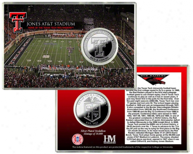 Texas Tech Red Raiders Jones At&t Stadium Silver Coin Card