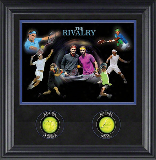 The Rivalry Signed Framed Autographed Tennis Balls With Photos