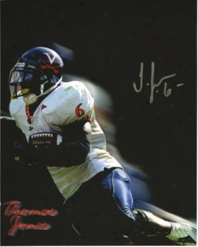 Thomas Jones Virginia Cavaliers 8x10 Autgraphed Photograph