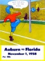 1958 Florida Vs. Auburn 22 X 30 Canvas Historic Football Print