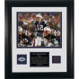 New England Patriots Complete Seasin Framed 8x10 Photograph Wigh Game Used Football Piece, Team Medallion And Descriptive Lamina