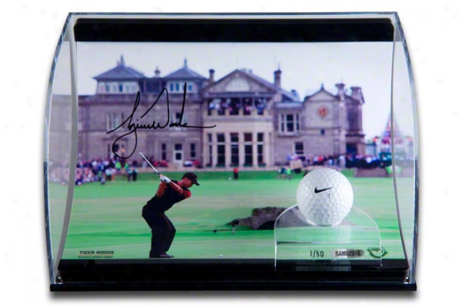 Tiger Woods Autographed 2005 British Open 8x10 Photograph With Range-used Golf Ball In Horizontal Curved Acrylic Display Case