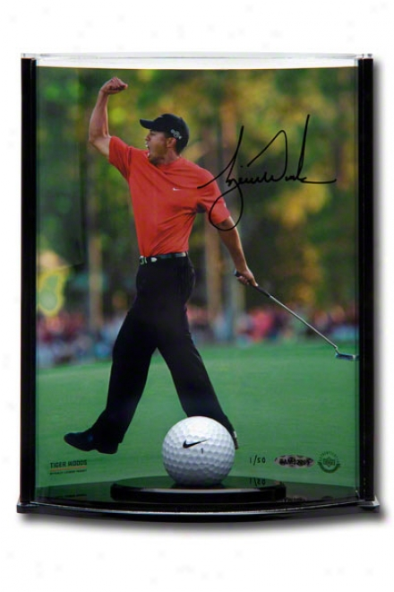 Tiger Woods Autographed 2005 Masters 8x10 Photograph With Range Used Golf Ball In Vertical Curved Acrylic Display Case
