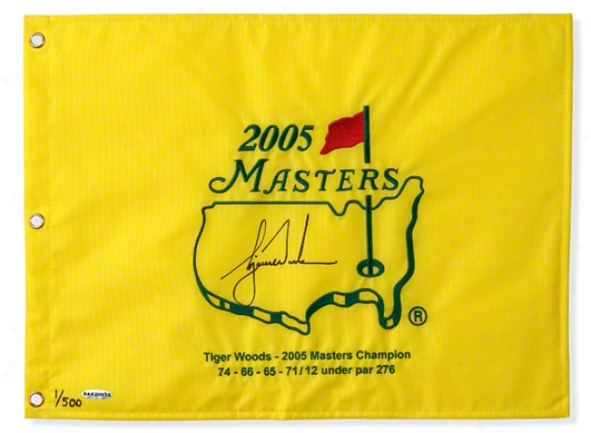 Tiger Woods Autographed 2005 Masters Pin Flag With Ejbroidery