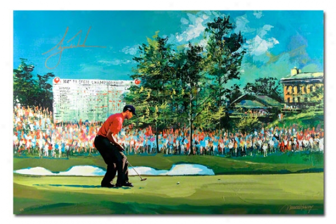 Tiger Woods Autographed 2008 Us Open Artwork