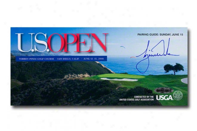 Tiger Woods Autographed Genuine 2008 Us Open Pairing Guide
