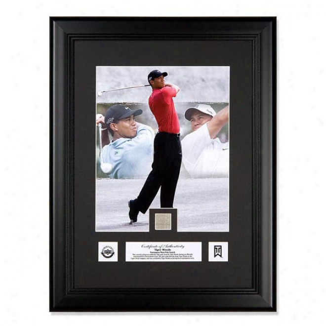Tiger Woods Framed Photo Montage With Tournament-worn Polo Swatch