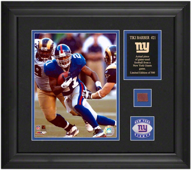 Tiki Barber New York Giants Framed 8x10 Photograph With Game Used 2005 Football Piece And Medallion