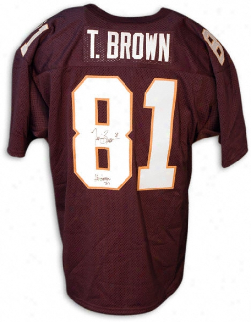Tim Brown Notre Dame Fighting Irish Autographed lBue Throwback Jersey