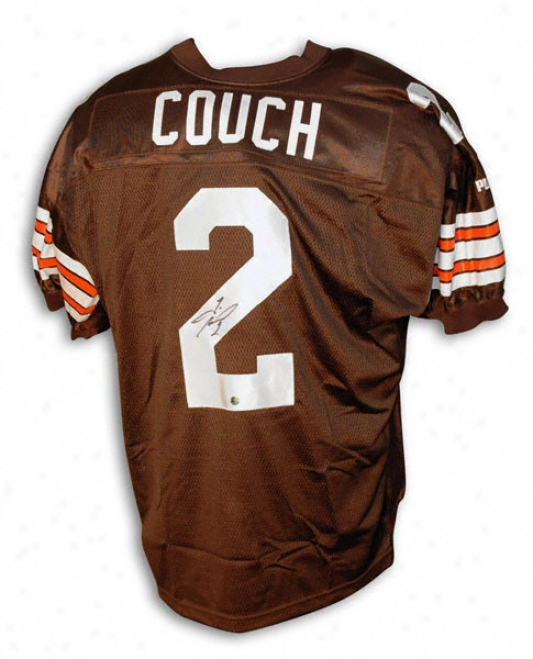 Tim Couch Cleveland Browns Autographed Puma Jersey With Inaugural 1999 Patch