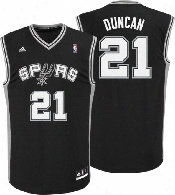 Tim Duncan Jerse6: Adidas Revolution 30 Black Replica #21S an Antonik Spurs Jersey