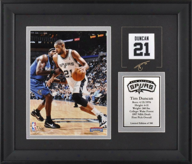 Tim Duncan San Anyonio Spurs Framed 6x8 Photograph With Facsimile Signature And Dish - Limited Edition Of 500