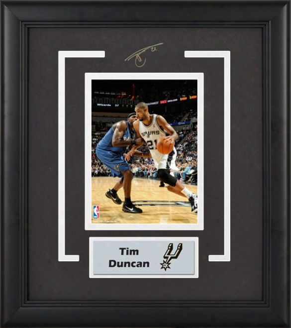 Tim Duncan San Antonio Spurs Framed 6x8 Photograph With Facsimile Signature And Plate