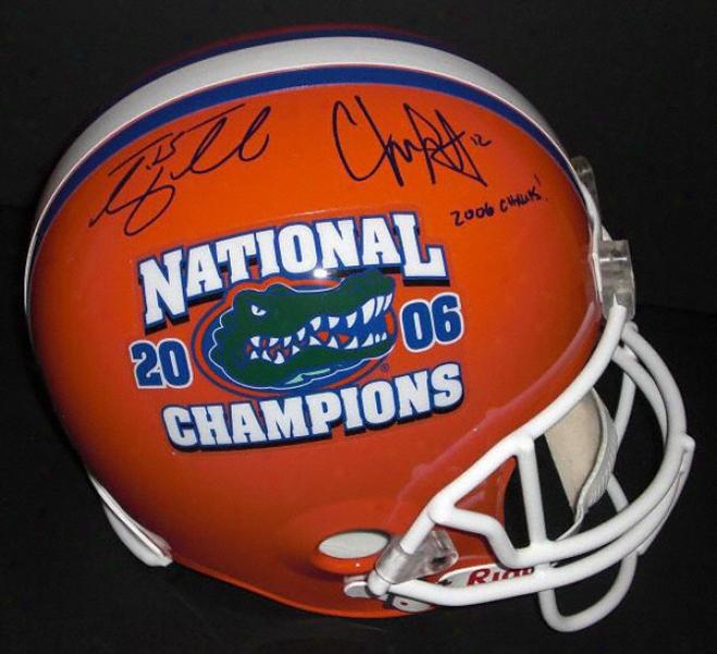Tim Tebow And Chris Leak Aytographed Florida Gators 2006 National Championship Helmet With &quot2006 Chmaps!&quot Inscription