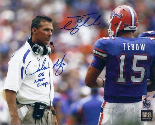 Tim Tebow And Urban Meyer Dual Autographed Florida Gators 8x10 Photograph