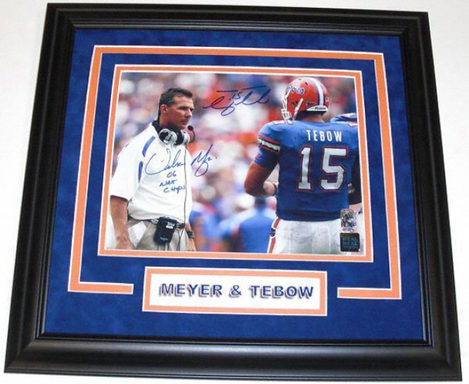 Tim Tebow And Urban Meyer Dual Autographed Florida Gators Black Framed 8x10 Photograph