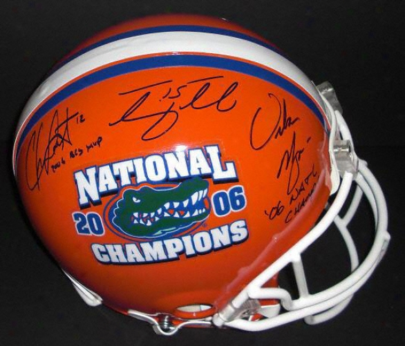 Tim Tebow, Chris Leak, & Urban Meyer Triple Ajtographed Florida Gators &quot2006 Champs&quot Full Size Authentic Helmet With Inscriptions