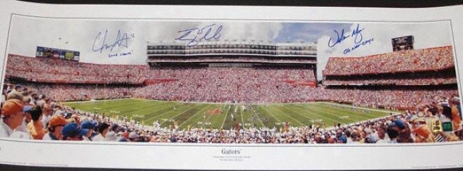 Tim Tebow, Chris Leak, & Urban Meyer Triple Autographed Florida Gators Panoramic Photograph With Inscriptions