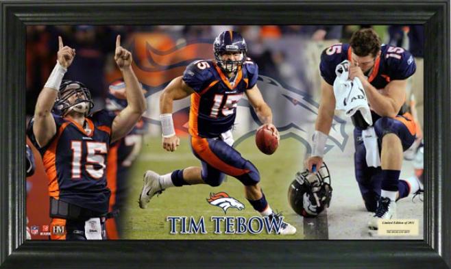 Tim Tebow Denver Broncos Gridiron Ace 12x20 Frame