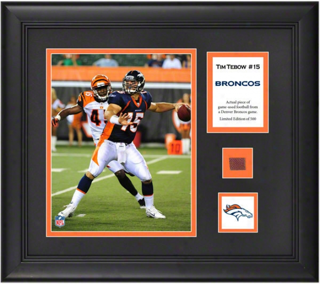 Tim Tebow Framed 8x10 Photograph  Details: Denver Broncos, With Game User Football Piece And Descriptive Plate
