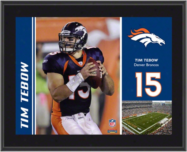 Tim Tebow Plaque  Detail:s Denver Broncos, Sublimated, 10x13, Nfl Plaque